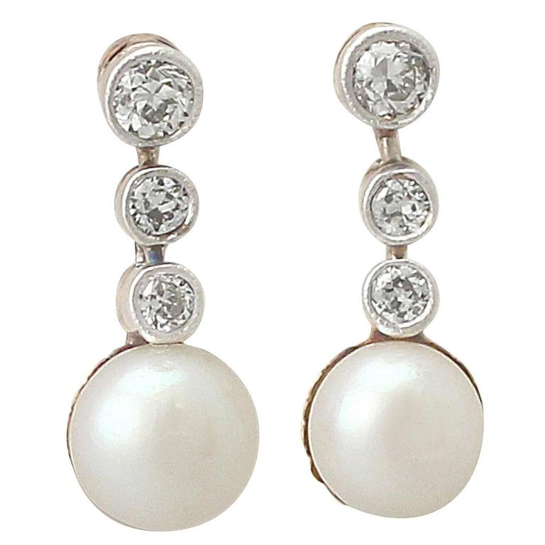 Pearl & 0.28Ct Diamond. 14k Yellow Gold, Platinum Set Drop Earrings - Antique