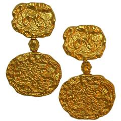 1970s Textured Vermeil Earpendants