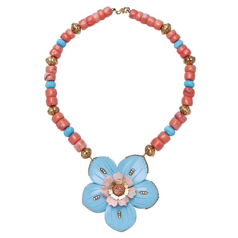 Statement Turquoise Coral Diamond Gold Flower Necklace