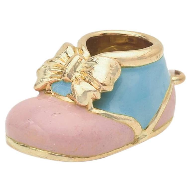 Aaron Basha Pink and Blue Enamel Baby Shoe Charm at 1stdibs