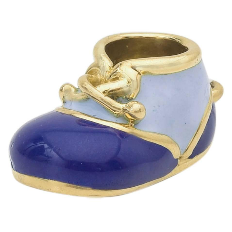 Aaron Basha Enamel Gold Baby Shoe Pendant at 1stdibs