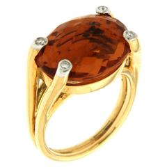 Madeira Citrine Diamond Gold Ring