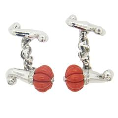 Chantecler Carved Coral Diamond Gold Cufflinks