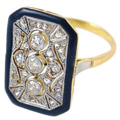 Antique Art Deco Transitional Diamond Gold Platinum Lace Ring