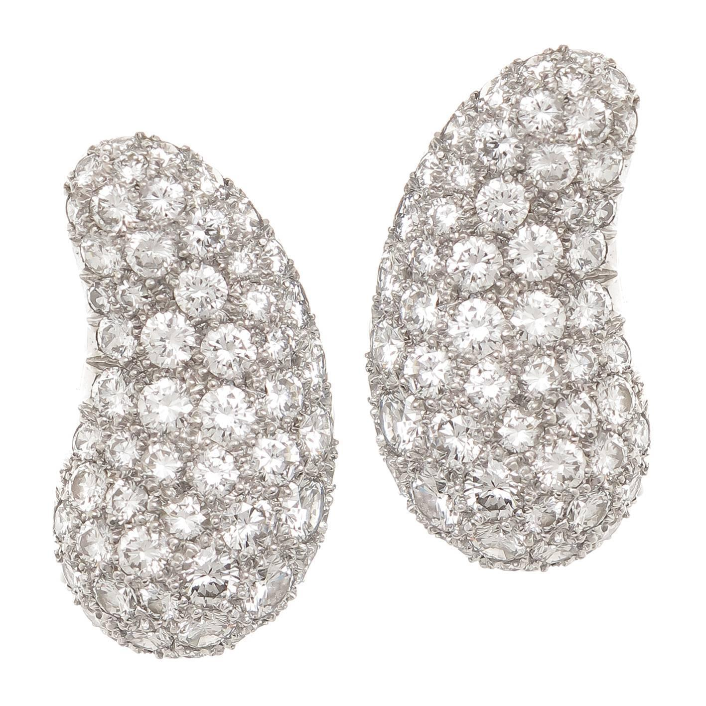 Tiffany and Co Elsa Peretti Diamond Platinum Bean Earrings at 1stdibs