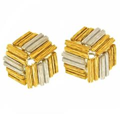 1980s Meister Brutalist Gold Earrings