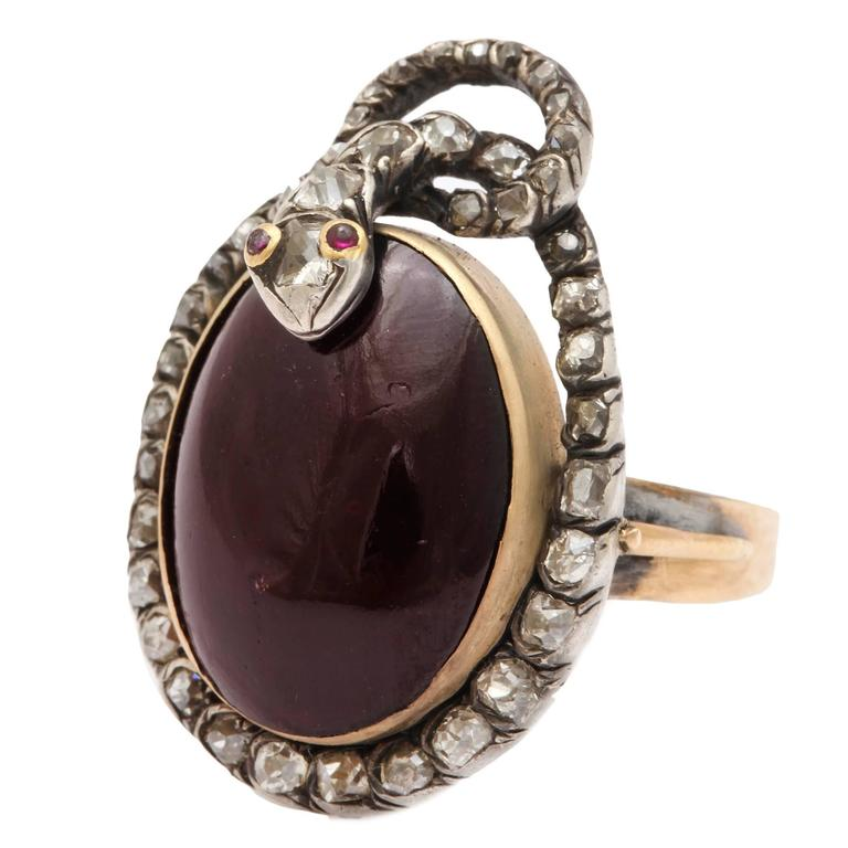 Victorian Garnet and Diamond Serpent Ring Symbolizes Love's Ardor For Sale