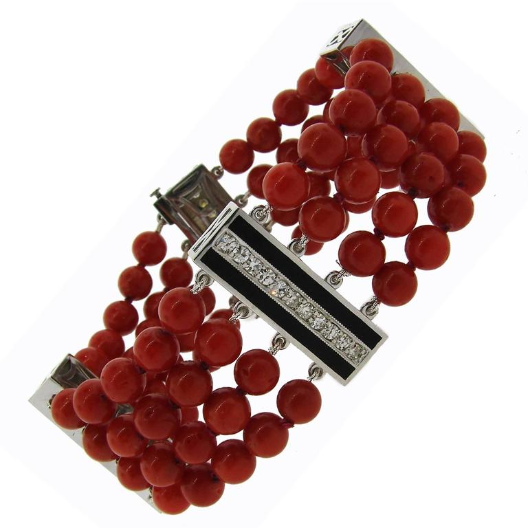Coral Bead Diamond Black Enamel Gold Bracelet