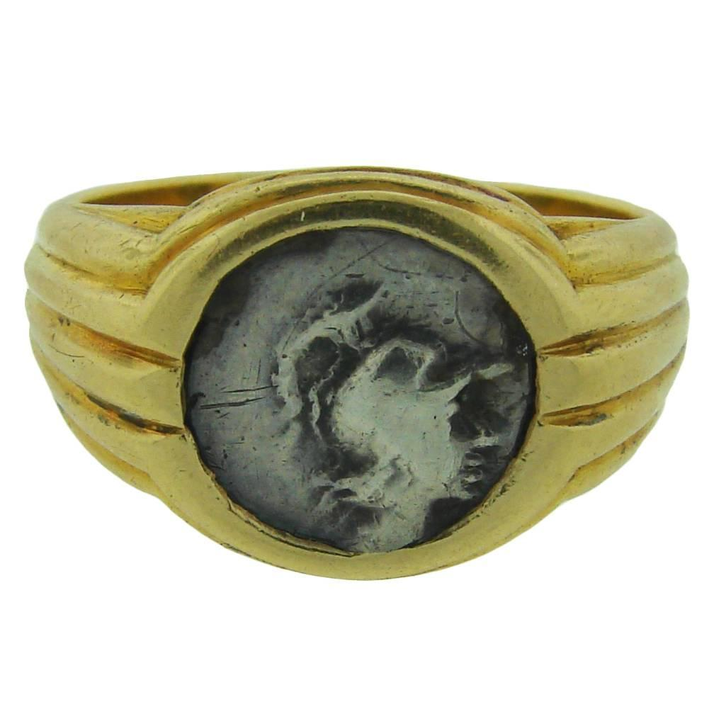 1970s bulgari ancient silver coin gold ring at 1stdibs. Black Bedroom Furniture Sets. Home Design Ideas