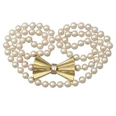 Single Strand Pearl & 18k Yellow Gold Necklace - Art Deco Style - Vintage