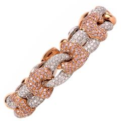 Natural  Fancy Pink Diamond Gold Bangle Cuff Bracelet