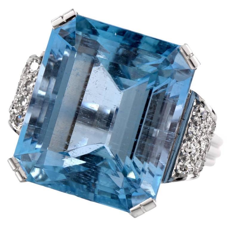 Retro Fine Aquamarine Diamond Platinum Ring 1