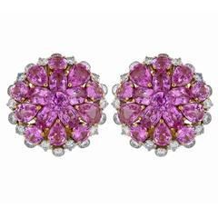 18.10 Carat Pink Sapphire and Diamond Earrings