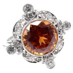 Tiffany & Co. 3.25 Carat Spessartite Garnet Diamond Platinum Ring