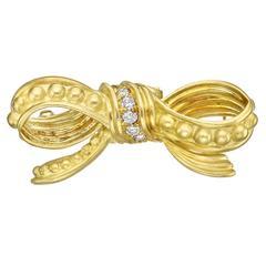 Judith Ripka Diamond Gold Bow Pendant Brooch