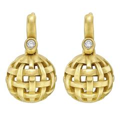 Kieselstein-Cord Gold Lattice Ball Drop Earrings