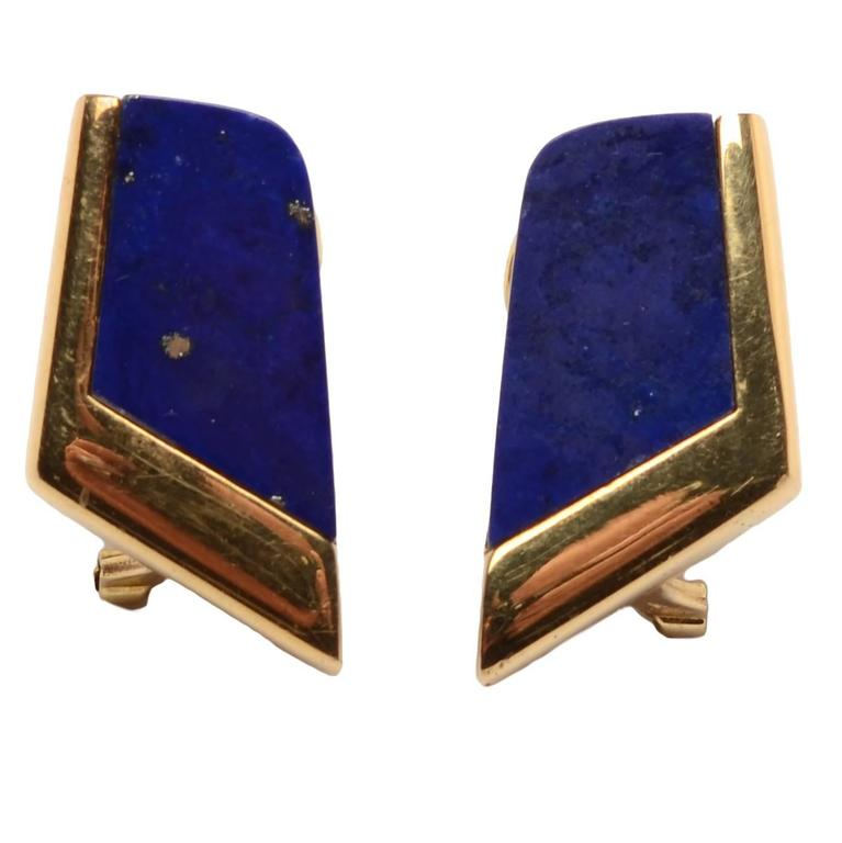 Lapis Lazuli Gold Earrings For Sale