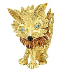 Fabergé Whimsical enamel gold Fox Brooch