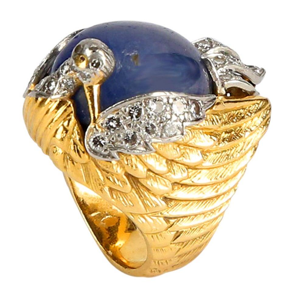Sapphire Diamond Gold Phoenix Statement Ring Estate Fine Jewelry