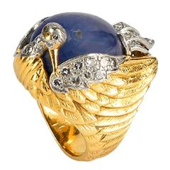 Unique Sapphire Diamond Gold Phoenix Dress Ring