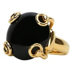 Gucci Onyx Gold Stirrup Ring