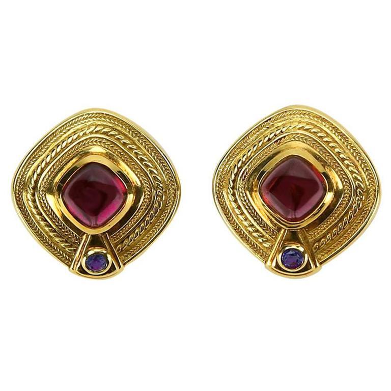 Seidengang Rhodolite Garnet Iolite Statement Gold Earrings For Sale