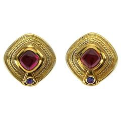 Seidengang Rhodolite Garnet Iolite Statement Gold Earrings