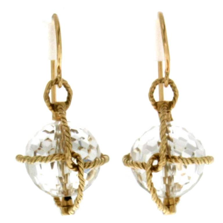 Nautical Twisted Wire Crystal Ball Gold Earrings