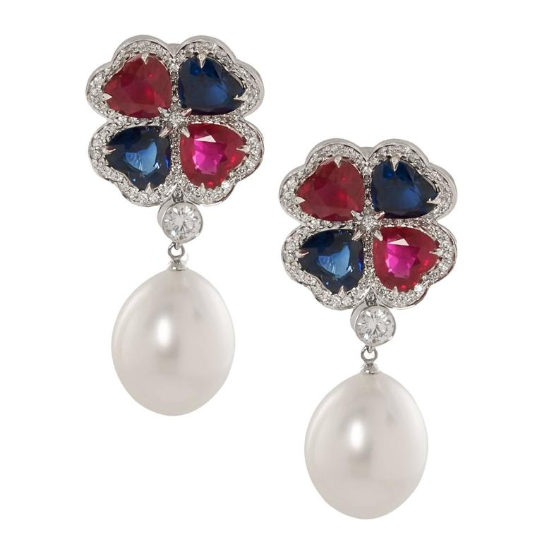Ruby and Sapphire Earrings with Pearl