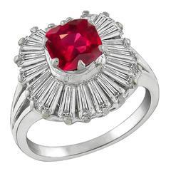 Stunning 1.31 Carat Natural No Heat Ruby Diamond Platinum Ballerina Ring