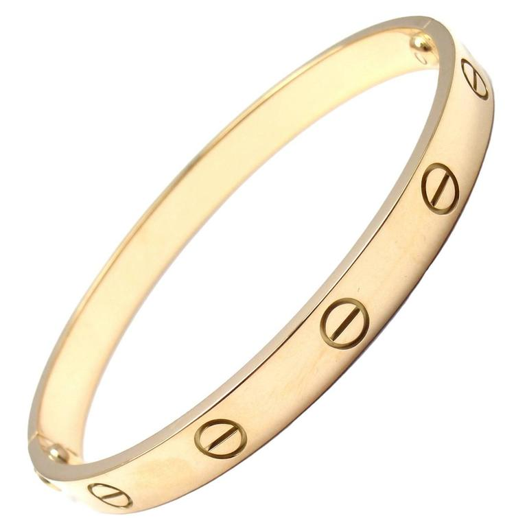 Cartier Love Yellow Gold Bangle Bracelet Size 17 1