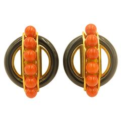 Aldo Cipullo Onyx, Coral and Gold Earrings