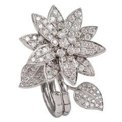 Van Cleef and Arpels Diamond 'Lotus' Between the Finger Ring