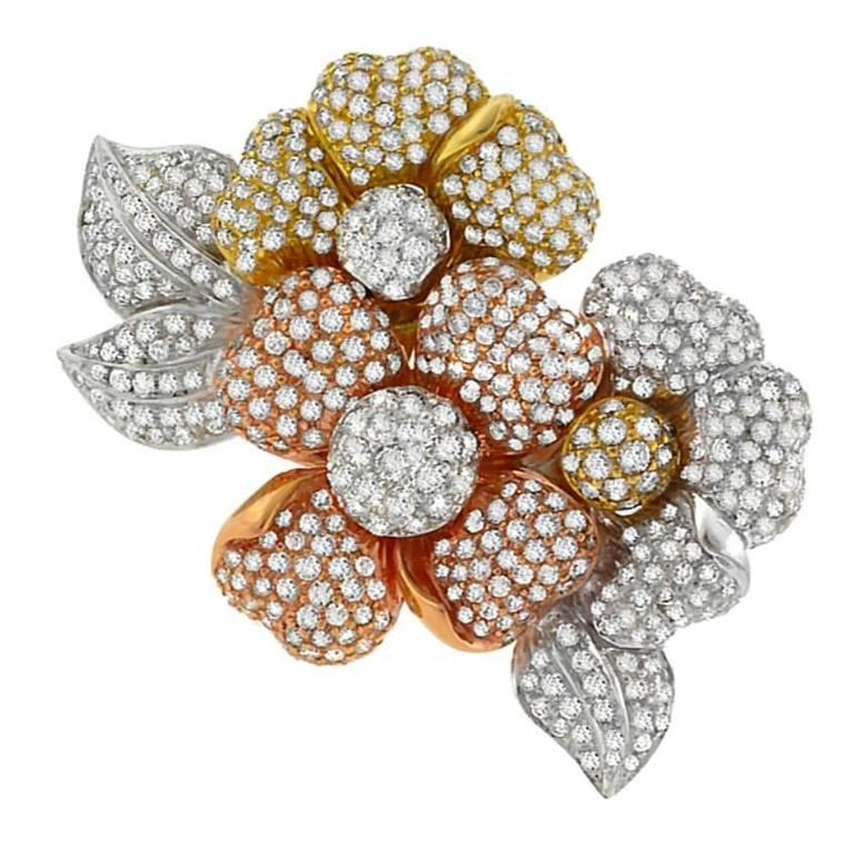 Stunning 15 Carat Diamond Tri Color Gold Floral Pin Brooch For Sale