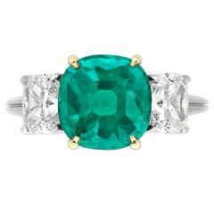 Untreated Colombian Emerald and Diamond Ring 3.04 Carats