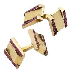 Van Cleef & Arpels Ruby Gold Double Cufflinks, circa 1940s