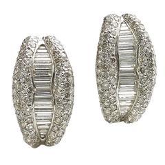 Diamond Gold Half Hoop Earrings