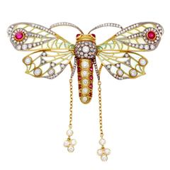Masriera Plique-A-Jour Enamel Diamond Ruby Butterfly Brooch