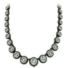 Breathtaking Georgian Old Mine Cut Diamond Silver and Gold Necklace