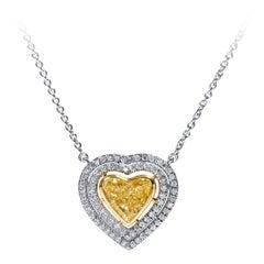 HH 1.79 Carat Natural Fancy Yellow Heart Shaped Diamond 18 Kt White Gold Pendant
