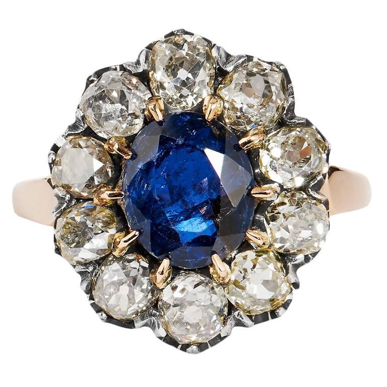Burma No Heat Sapphire and Diamond Victorian Ring