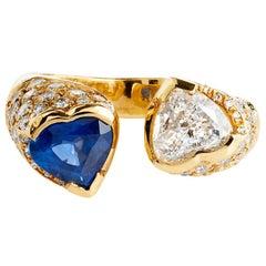 Moi et Toi 1.14 ct Blue Sapphire & .78 ct Heart Shaped Diamond 18 kt Gold Ring