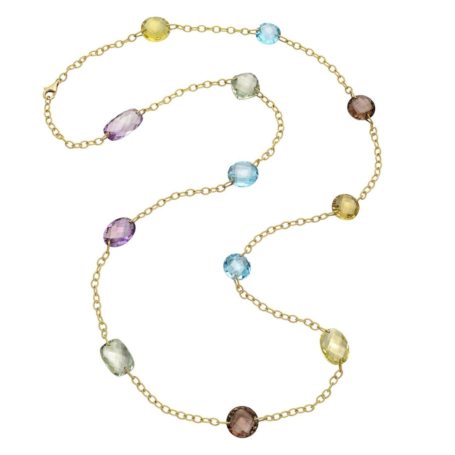 Gold and Multicolored Gemstone Long Necklace at 1stdibs