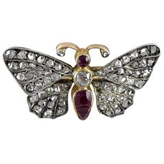 Small Gem Set Silver Gold Butterfly Brooch
