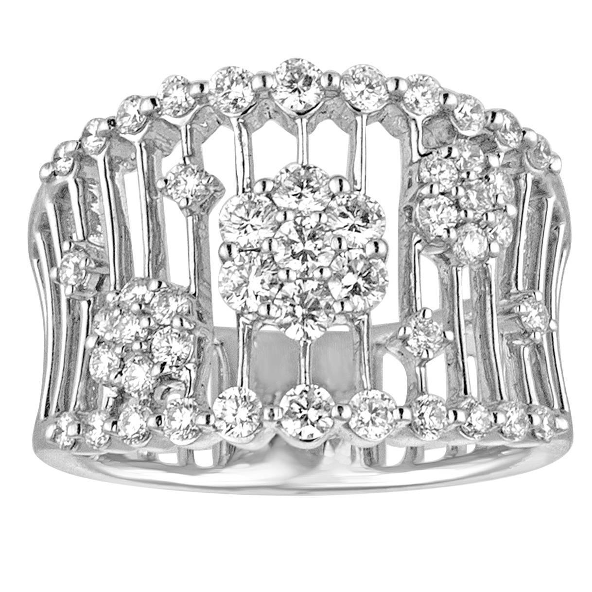 0.98 Carats Diamond Flowers on Bars Gold Ring
