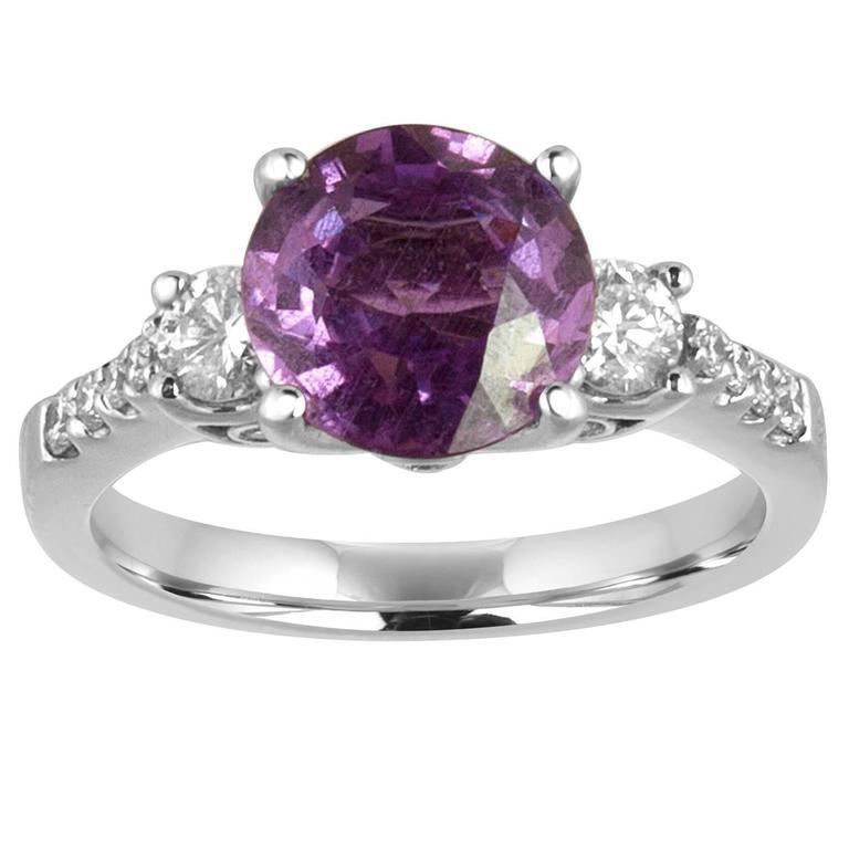 Certified No Heat 2.64 Carat Purple Sapphire Diamond Ring