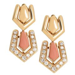 Boucheron Coral Diamond Gold Earrings