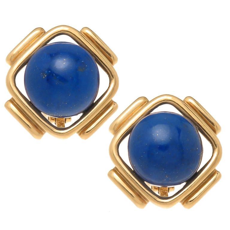 Cartier Lapis Gold Earrings 1