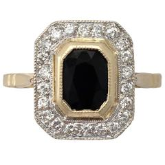1.55Ct Sapphire & 0.72Ct Diamond, 18k Yellow Gold Cluster Ring - Vintage