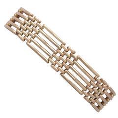 9k Rose Gold Gate Link Bracelet - Antique Circa 1910